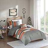 Comfort Spaces - Pierre Comforter Set - 3 Piece - Gray/Orange - Multi-Color pipeline Panels - Perfect For Dormitory - Boys - Twin/Twin XL size, includes 1 Comforter, 1 Sham, 1 Decorative Pillow
