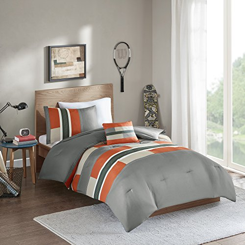 Comfort Spaces Pierre 4 Piece Comforter Set All Season Ultra Soft Hypoallergenic Microfiber Pipeline Stripe Boys Dormitory Bedding, Full/Queen, Orange Grey