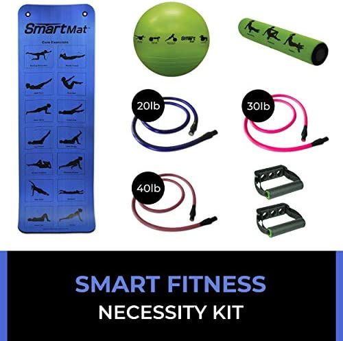 Prism Fitness Smart Necessity Kit – Includes Smart Mat, Stability Ball, Recovery Roller, 3 5ft Fitness Cables 20lb, 30lb, 40lb , and 1 Pair Triple Slot Handles For Resistance, Body Weight Exerc
