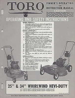 1966 toro 25 34 whirlwind hevi duty owner s operating parts rh amazon com