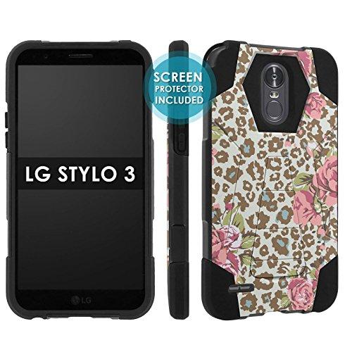 [POPCulture] Rugged Case For LG Stylo 3 [Stylo 3 Plus 2017] [Black/Black] Military Armor Case [KickStand] [Screen Protector]- [Leopard Rose] Print Design