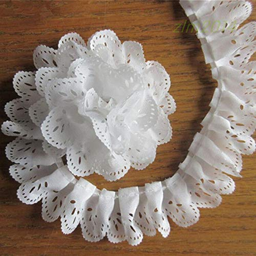 5 Yard Hollow Chiffon Pleated Organza Scallop Lace Edge Gathered Trim Ribbon 3.5 cm Width Vintage White Edging Trimmings Fabric Embroidered Applique Sewing Craft Wedding Dress Clothes -