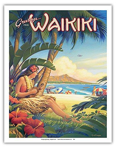Greetings from Waikiki, Hawaii - Ukulele Hula Girl - Diamond Head Crater - Vintage Style Hawaiian Travel Poster by Kerne Erickson - Fine Art Print - 11in x - Kids With Waikiki