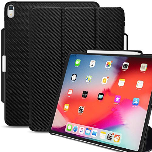 KHOMO iPad Pro 12.9 Inch Case 3rd Generation (Released 2018) with Pen Holder - Dual Carbon Fiber Super Slim Cover - Support Pencil Charging