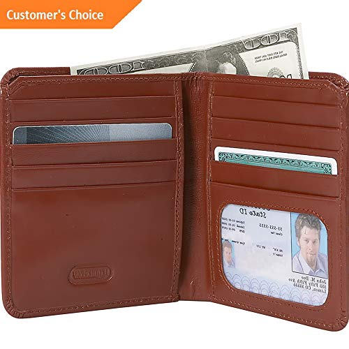 Sandover Leatherbay Mens Double Fold Leather Wallet 2 Colors Mens Wallet NEW | Model LGGG - 9774 ()