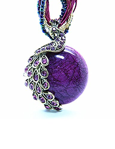 [LNKRE JEWELRY Bohemian Style Cat's Eye Crystal Collar Peacock Necklace Pendant(Purple)] (Titanic Costumes Ideas)