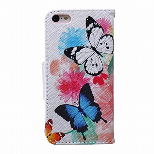 LEMORRY iphone 5C Flip Etui Housse, [Double Imprimé] Floral Papillon Durable Soft TPU Coque + PU Cuir Portefeuille Cards Stand Magnétique Sangle Flexible Skin Protecteur