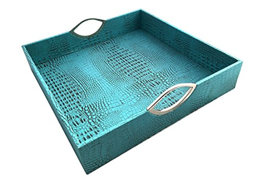 Red Pomegranate 117S-6 Square Patterned Serveware Crock Tray, Turquoise (Breakfast Table Ideas Centerpiece)