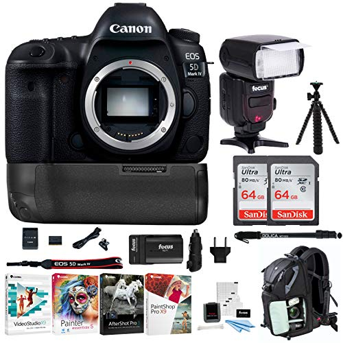 Canon 5D Mark IV EOS Full Frame DSLR Camera w/Zoom Intelligent TTL Flash & Double 64GB SD Card Advanced Travel Kit Review