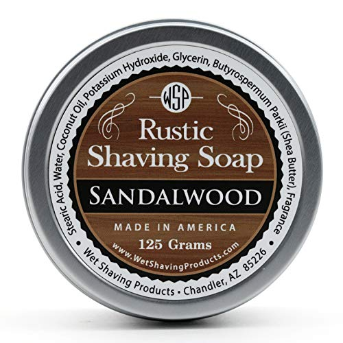 WSP Rustic Shaving Soap (Sandalwood) 4.4 Oz in Tin Artisan Made in America Using Vegan Natural Ingredients