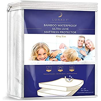 LUNAVY Premium Bamboo Waterproof Mattress Protector - Machine Washable Pad (King Size)