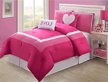 Amazing D UNKN 4pc Girls Hot Light Pink Love Twin Comforter Set, Fun Teen Girly