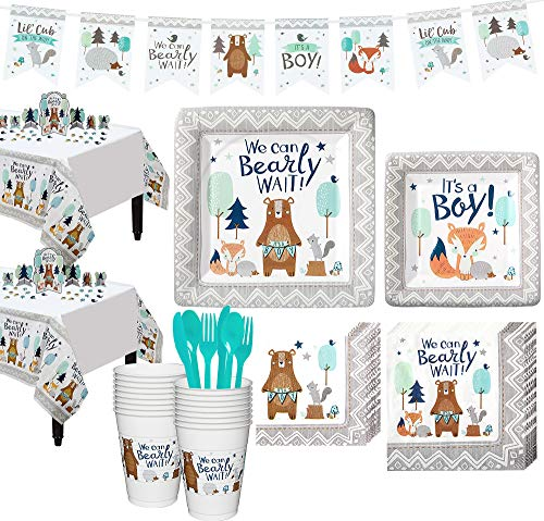 Party City Can Bearly Wait Baby Shower Kit for 16 Guests, Includes Table Covers, Table Decorating Kit and Banner -