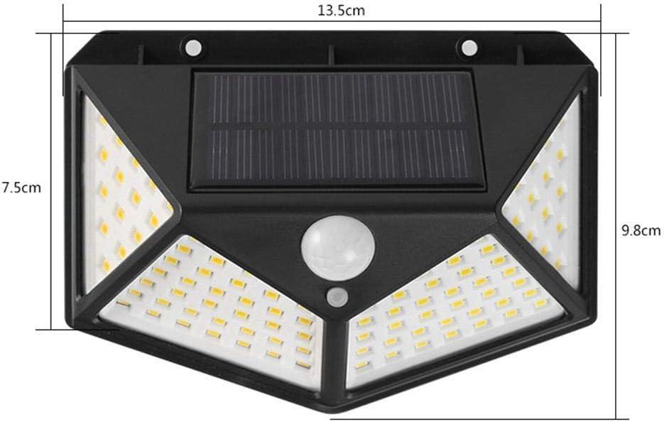 Olodui1 100 LED de energ/ía Solar Sensor de Movimiento de luz L/ámpara de Pared de jard/ín de jard/ín Impermeable al Aire Libre Apliques de Exterior