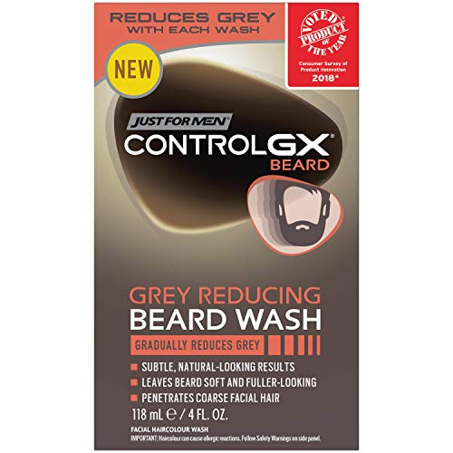 Just For Men Control GX Grey Reducing Beard Shampoo for Mustache & Beard, 4 Ounce