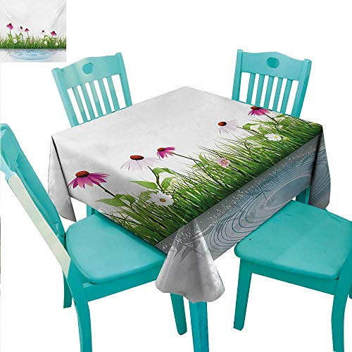 (WilliamsDecor Flower Easy Care Tablecloth Coneflower by The Lake Water Sea Fall Season Hand Drawn Horizontal Hand Drawn Print for Kitchen Dinning Tabletop Decoration 70