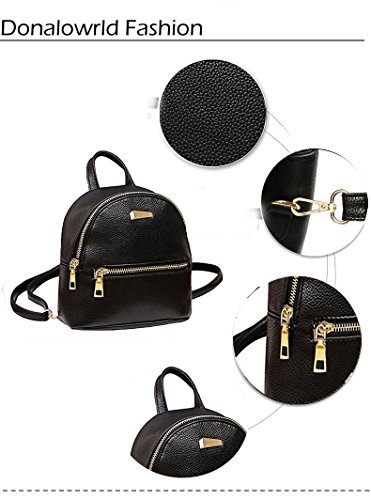 Donalworld Women Floral School Bag Travel Cute PU Leather Mini Backpack S Black3 by Donalworld (Image #2)
