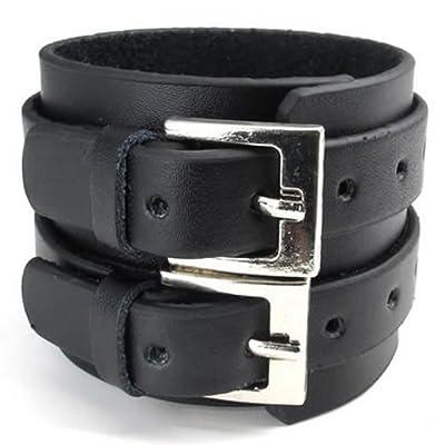 "KONOV Jewelry Wide Genuine Leather Mens Bangle Cuff Bracelet, Punk Rock, Fits 7"" to 8.5"", Black"