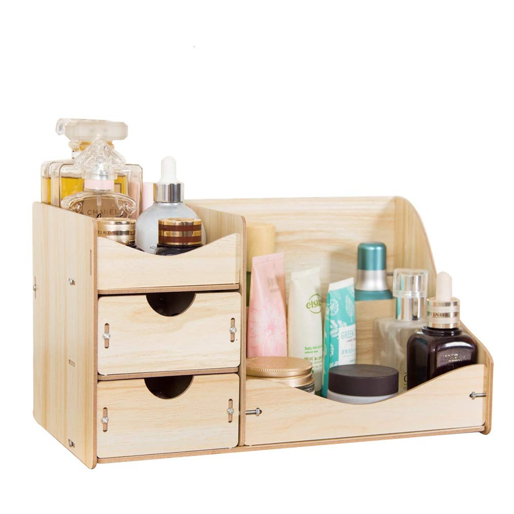 ZPAAZZZZ New Wooden Cosmetic Organizer Home Makeup Organizer Wood Desktop Storage Box for Cosmetics Organizer for The Office