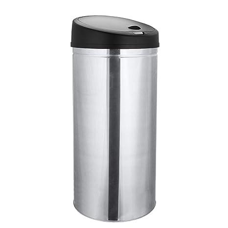 WIS Cubo de basura con sensor de apertura automático de acero inoxidable, 40 Litros,Plata