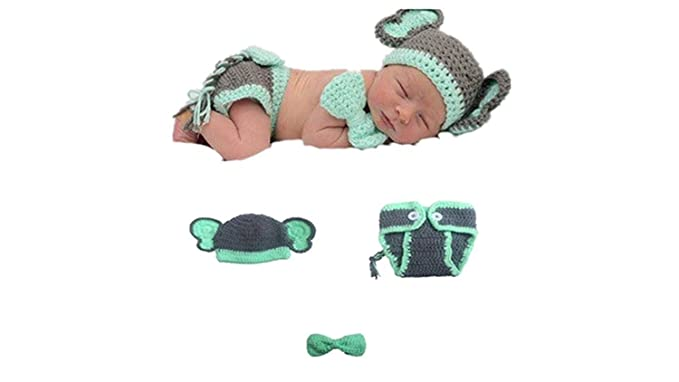 d4944576861 Amazon.com  MATISSA Newborn Baby Girl Boy Crochet Knit Costume Photography  Prop Hats and Outfits (Baby Bow-tie Elephant)  Clothing