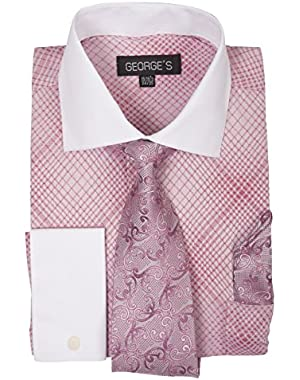 Small Check Pattern Dress Shirt w/Tie Set & French Cuff AH6244