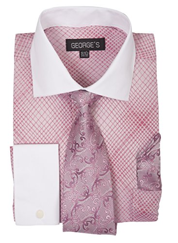 Contrast Collar Shirt (George's Small Check Pattern Fashion Dress Shirt With Woven Tie Set AH624 Rosepink-17-17 1/2-36-37)