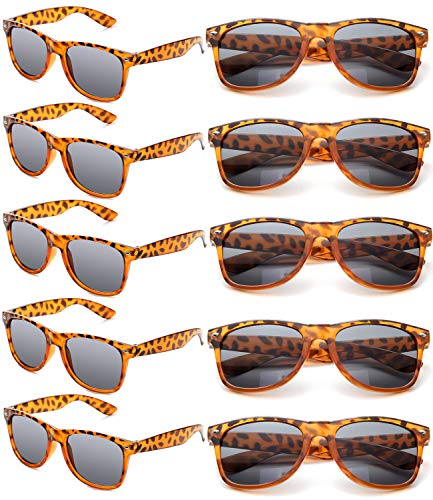 Wholesale Unisex 80'S Retro Neon Party Favor Sunglasses Bulk for Adults 10 Pack (Tortoise -