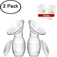 Silicone Breastfeeding Manual Breast Pump Milk Saver Suction 100% Food Grade Silicone BPA PVC Free 2 -Pack with Breast Milk Bag