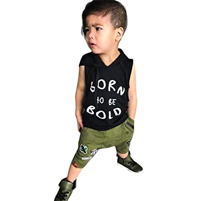 d55c6238c ... T-Shirt Tops+Camouflage Pants,2Pcs Fashion Outfits Clothes Sets.  Now:$11.99$12.99. DIGOOD for 0-3 Years Old,Toddler Baby Boys Letter  Sleeveless Hoodies+ ...