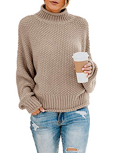 Ybenlow Womens Turtleneck Sweaters Batwing Long Sleeve Casual Loose Oversized Chunky Knit Pullover Jumper Tops (X-Large, Khaki)