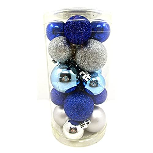 holiday time mini ornament setshatterproof shiny bulbs with glitter20x cobalt bluesilverblue - Blue And Silver Christmas