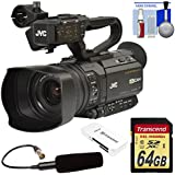 JVC GY-HM250U Ultra 4K HD 4KCAM Professional Camcorder & Top Handle Audio Unit XLR Microphone + 64GB Card + Kit