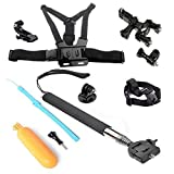 RioRand® 5in1 for Go Pro Accessories Bundle Kit Ultimate Combo GoPro Hero 4 Hero 3+ Hero 3 Hero 2 Digital Camera, Black Extendable Telescopic Handheld Pole / Stick Monopod Pod with Tripod Mount Adapter + Orange Floaty Bobber with Strap Floating Diving Buoyancy Camera Hand Grip / Handle Mount Stick with Screw + Bike Handlebar Roll Bar Mount Max for 4CM Diameter Seatpost Pole Mount with 3-way Adjustable Pivot Arm + Adjustable Head Strap Mount + Chest Mount Harness with J-hook