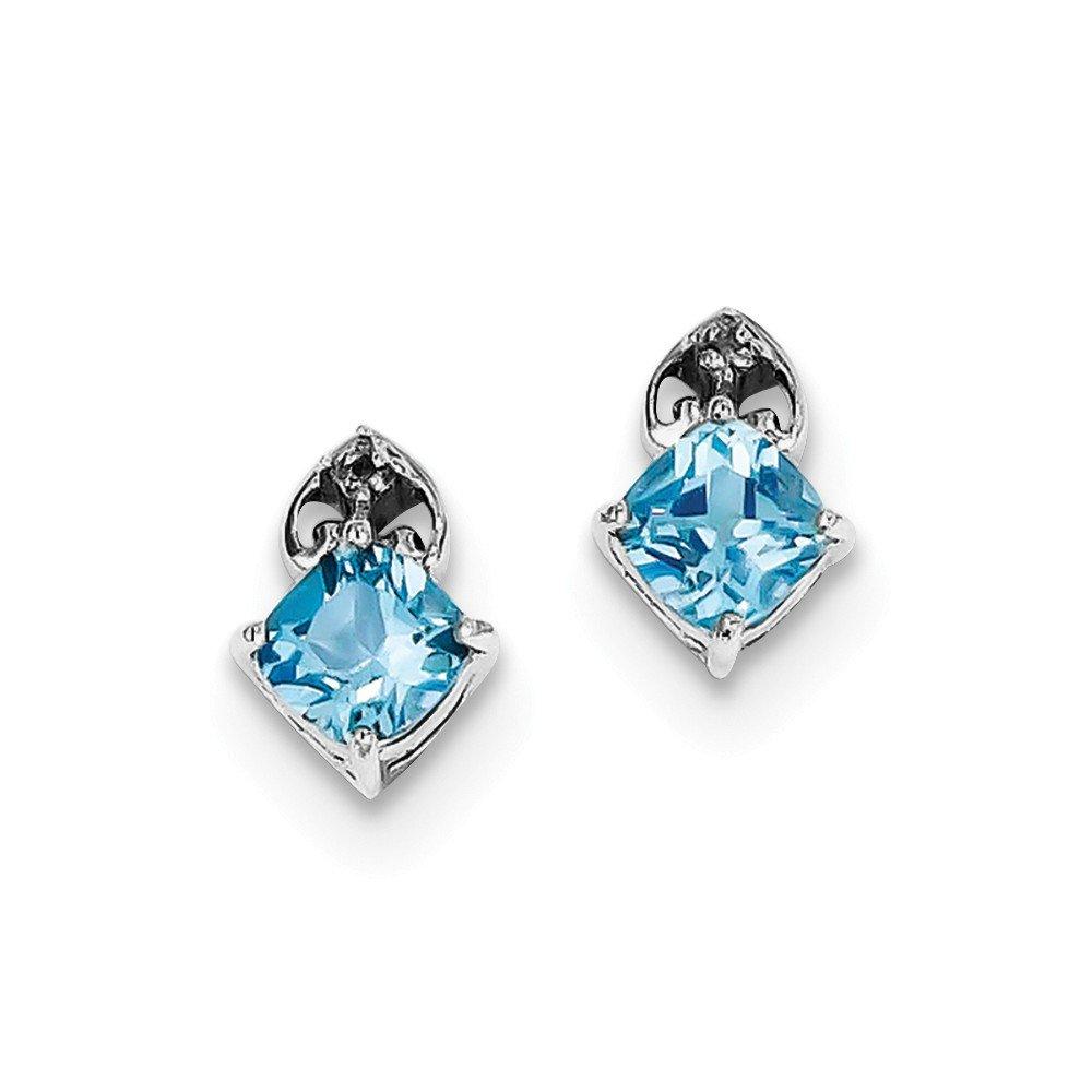 Sterling Silver Rhodium Plated Diamond Lt Swiss Blue Topaz Post Earrings