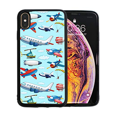 Different Design of Airplan iPhone Xs Max Case Screen Protector TPU Hard Cover with Thin Shockproof Bumper Protective Case for Apple iPhone Xs Max 6.5 Inch