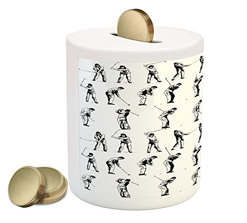Golf Ball Bank - Ambesonne Golf Piggy Bank, Golf Swing Shown in Fourteen Stages Sports Hobby Themed Sketch Art Storyboard Print, Printed Ceramic Coin Bank Money Box for Cash Saving, Black White