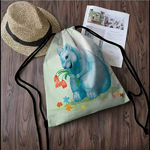 Animal Drawstring backpack series Dear Blue Mouse with Tulip Bouquet Caricature Hamster Chinchilla Mascot Rodent Toy Convenient choice for daily activities W17.3 x L13.4 Inch Multicolor