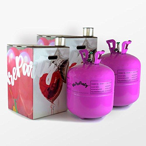 Pack de 2 bombonas de helio para hinchar 100 globos (no incluidos).