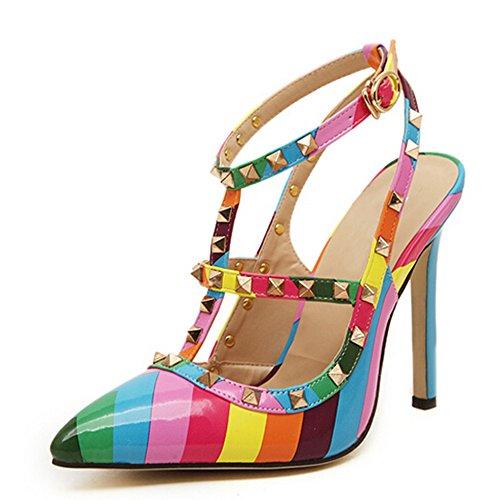 Yaheeda Women's Multicolor High Heels Rivets Rainbow Stiletto Sandals Pumps ()