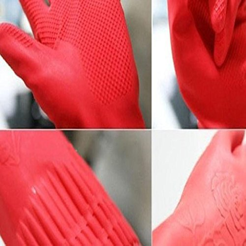 Housework Gloves TOOPOOT Waterproof Rubber Latex Gloves for Dish Washing Laundry (Red) by TOOPOOT (Image #1)