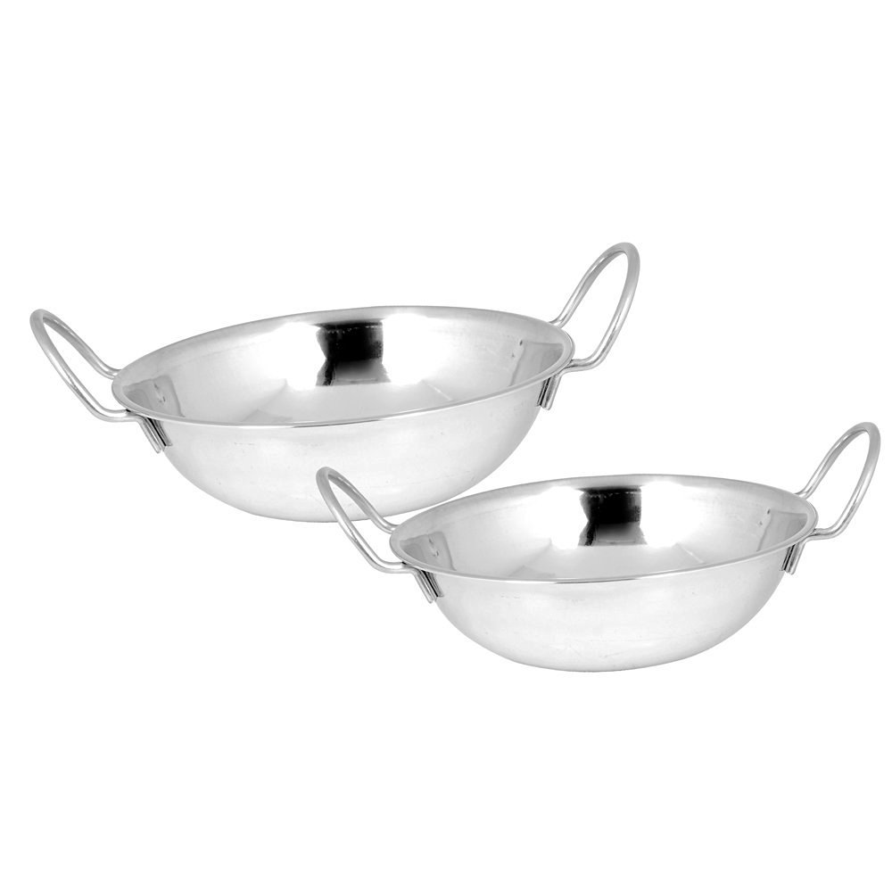 Kosma Set of 2 Stainless Steel Balti Dishes, Large Curry Bowl in Size - 17 cm | Balti Dish Set Montstar Global KG-22026