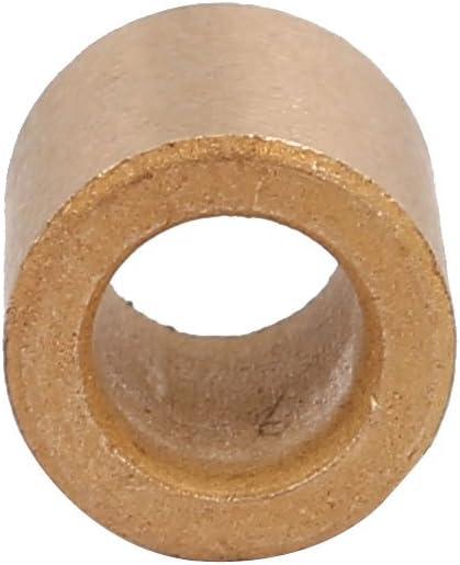 sourcing map Cojinete de manguito de 6mmx10mmx10mm de metal en polvo Casquillo de bronce tono oro 8pcs