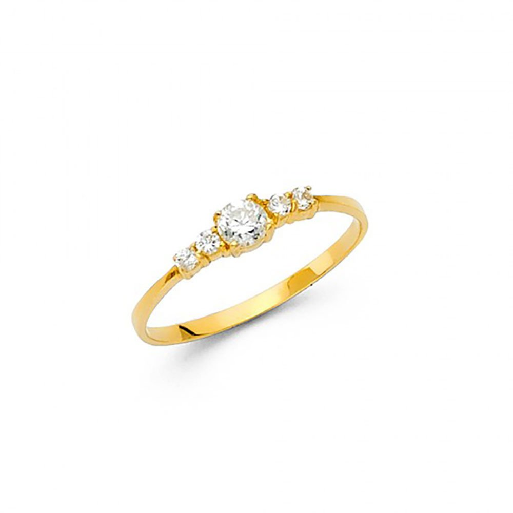 14k Yellow Gold Round CZ Tiny Baby Stacking Ring American Set Co