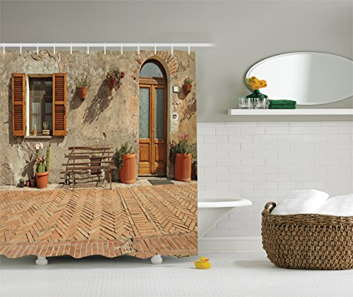 Ambesonne Tuscan Decor Collection, Medieval Facade Italian Rustic Wooden Door Brick Wall in Small Village, Polyester Fabric Bathroom Shower Curtain Set with Hooks, Peru Salmon (Village Set Small)