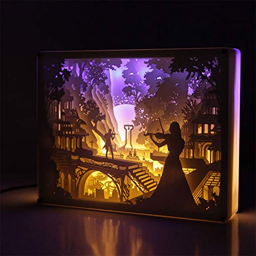 EFGS 3D Paper Carving Lamp, Stereo Creative Remote Paper-Cut Light Box Shadow Light Warm Romantic Atmosphere Halloween Christmas -
