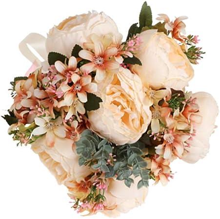 Bouquet Romantico Sposa.Amosfun Bouquet Da Sposa Artificiale Rosa Matrimonio Sposa Sposa
