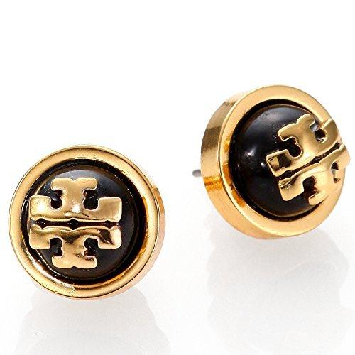 (Tory Burch Melodie Pearl Logo Stud Fashion Dome Earrings TB Logo Studs)