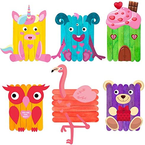 WATINC 6 Pack Valentine DIY Craft Supplies kit for Kids, Creative Craft Art for Classroom or Home, Wooden Sticks Googly Eyes DIY Art Supplies,Valentine Party Favor, Birthday Gifts for Boys and Girls