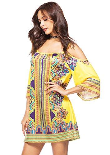 Aimur Femmes Sundress Robes De Plage Imprimé Bohème Col Bateau Aics5519 Aics5522no7